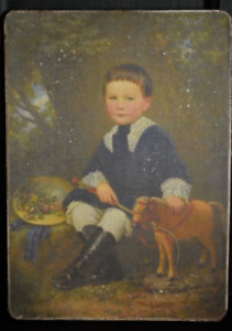 Handmade Primitive Boy With Toy Horse Print On Canvas Board 5x7