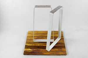White Steel Sofa Table Legs Modern Heavy Duty Powdercoated Trapezoid Diy Metal