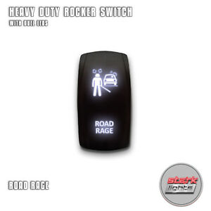 White Laser Etched Led Rocker Switch 5 Pin Dual Light 20a 12v On Off Road Rage