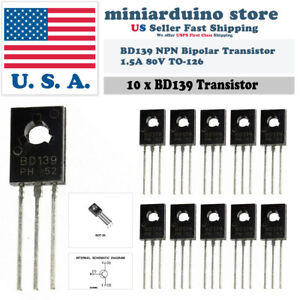 10pcs Bd139 To 126 Silicon Npn Transistor Low Voltage 80v 1 5a Sot 32 Bipolar
