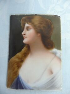 Antique Hand Painted Porcelain Plaque Beautiful Young Woman No Frame 4 By 3