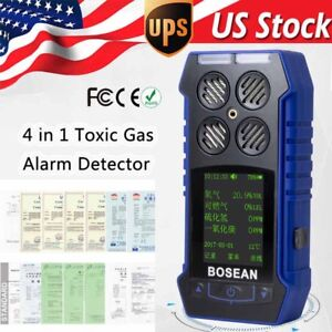 4 In 1 Gas Temperature Time Detector Co O2 H2s Oxygen Monitor Gas Analyzer Meter