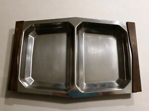 Vintage Danish Modern Stelton Mid Century Stainless Steel Rosewood Divided Tray
