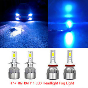 H7 H11 Ice Blue Led Headlight Bulbs Kit High Low Beam Total 144w 16000lm 8000k