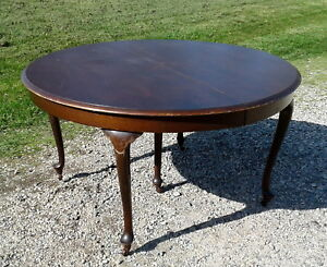 Tiger Oak Extension Round Table Queen Anne Style 5 Legs Org Finish 1930 Antique