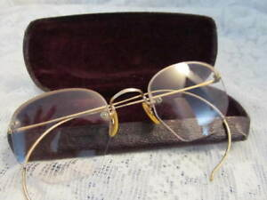 Antique Glasses 12k Gf Gold Filled Pince Nez Spectacles W Case Hurley Ad Cloth