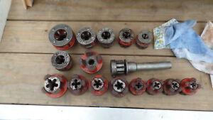 Ridgid Bolt Threader Set 8 Heads With Dies And 8 Pipe Thread Dies And Ratchet