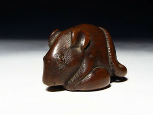 Edo Period Japanese Antique Mouse Wooden Netsuke Vintage