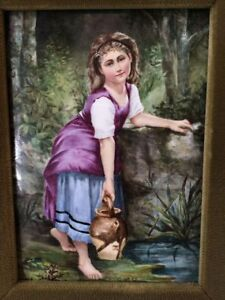 Stunning French 19c Hand Painted Porcelain Plaque Young Girl At Stream Framed