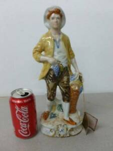Capodimonte Figurine Boy With Grapes Approx 12 1 2 Tall X 5 Wide