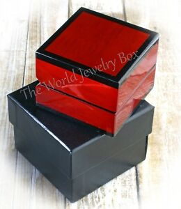 Royal Collection Elegant Genuine Cherry Wood Engagement Wedding Band Ring Box
