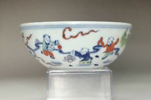 Chinese Doucai Porcelain Bowl W Chenghua Mark 3361