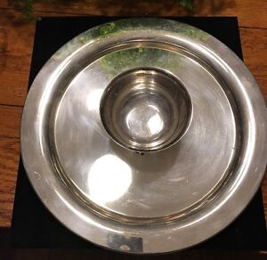 Wm A Rogers Silver Plate Chip Dip 15 Tray Platter Bowl Attached
