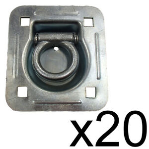 20 Flatbed Truck Cargo Trailer Strap Rope Chain Ring Tie Down Recessed D rings
