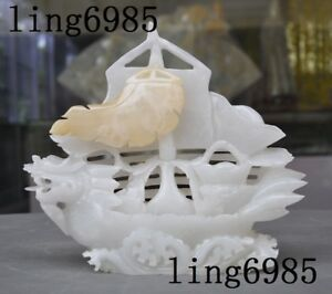 100 Natural White Jade Stone Hand Carved Dragon Head Boat Ship Sculpture