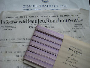 3 Yds Vintage French Lavender Ombre Rayon Ribbon Ribbonwork Flowers 1 4