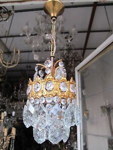 Antique Vintage French Brass Gold Mini Crystal Chandelier Lamp 1940s 5 6 In Dmtr