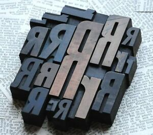 Rrrr Mixed Set Of Letterpress Wood Printing Blocks Type Woodtype Wooden Printer