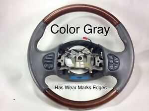 Ford Excursion Lincoln Navigator Leather Wood Steering Wheel Audio Gray Grey