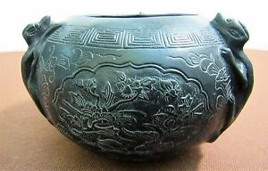 Large Old Chinese Bronze Censer W Dragons Scenes