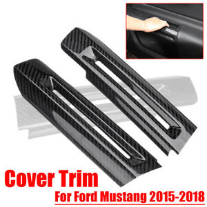 2pcs Carbon Fiber Interior Door Armrest Decor Cover For Ford Mustang 2015 2018