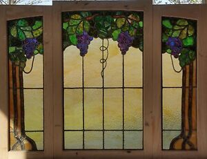 3 Pc Antique American Stained Glass Floral Set With Grapes Foliage And Vines