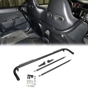 49 Black Universal Stainless Steel Racing Safety Seat Belt Roll Harness Bar Rod