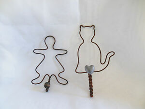 2 Primitive Twisted Wire Wall Hooks Hangers Cat Gir Doll Shapes Rustic