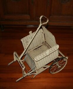 Antique Wicker Rattan Baby Stroller Carriage Buggy