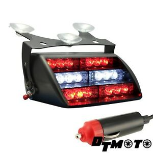 18x Redwhite Warning Led Firefighter Ems Flashing Emergency Dash Strobe Lights