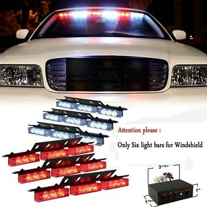 54 X Red White Led Flashing Warning Firefighter Strobe Lights Dash Deck Grille