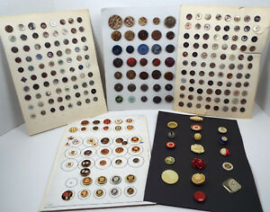 Antique Button Collection Display Cards Collector S Estate Unsearched Lot 141