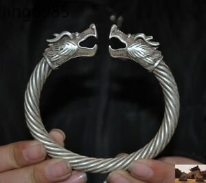 Old Chinese Tibet Silver Fengshui Dragon Statue Ancient Bracelet Bangle
