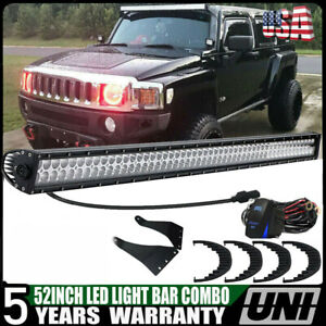 For Hummer H3 Upper Roof Windshield Curved 52 300w Led Light Bar Combo Kit