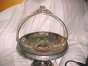 Antique Victorian Silver Plate Brides Bridal Basket Stemed Footed Floral 811