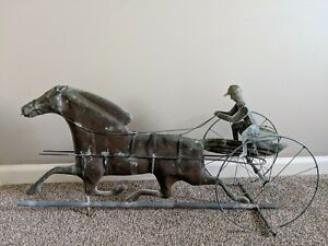 Vintage Copper Weathervane With Sulky Rider And Horse