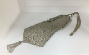 Vintage Whiting Davis Sterling Silver Mesh Purse Bag Wristlet 75 Grams T168 P