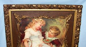 Large Antique Gold Gilt Layered Wood Picture Art Frame Young Girl Boy Print