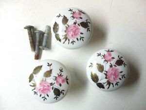 Lot Of 3 Vintage Japan 1960s White Porcelain Pull Knobs W Pink Roses 1 3 8