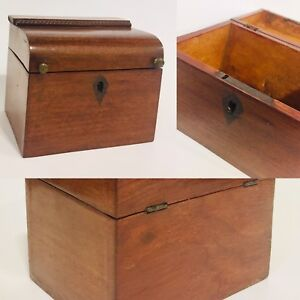 Antique English Early American 1800s Single Tea Caddy Wood Box Wooden Walnut