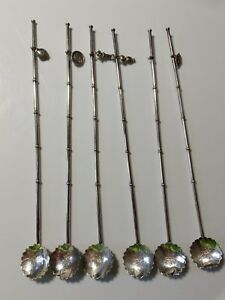 Vintage Japanese 950 Sterling Bamboo Straw Spoons Asian Charms Set Of 6 In Box