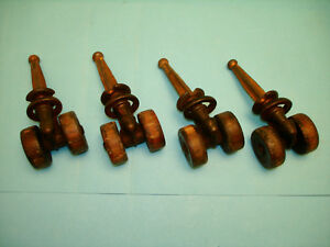 4 Victorian Era Wood Double Wheel Casters In Nice Condition 1 1 4 Diameter