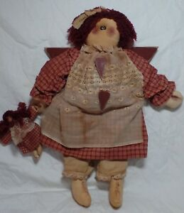 18 Primitive Country Folk Art Plush Raggedy Angel Doll Vintage Lace Mini Doll