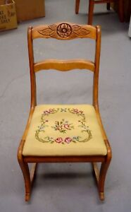 Antique Tell City Mahogany Sewing Rocker Needlepoint Seat Half Off Sale