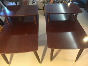 Vintage Mid Century Pair Of End Tables