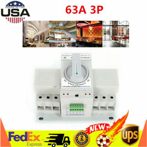 Dual Power Automatic Transfer Switch Self Cast 63a 3p Cb Level Ac 33ib Usa Stock
