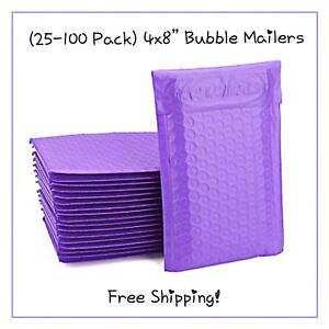 25 100 Pack 4x8 Purple Designer Bubble Mailers free Shipping