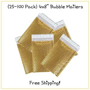 25 100 Pack 4x8 Metallic Gold Designer Bubble Mailers free Shipping