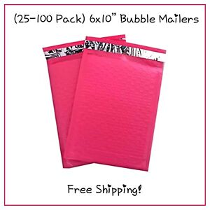 25 100 Pack 6x10 Hot Pink Designer Bubble Mailers free Shipping