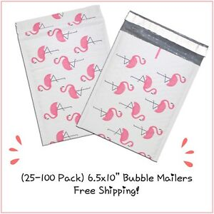 25 100 Pack 6 5x10 Flamingo Designer Bubble Mailers free Shipping